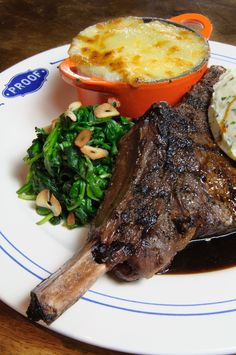 Grilled Rib Eye with Bourbon Onions, Spinach and Cheddar Mashed Potatoes