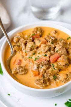 Sausage Parmesan Cream Cheese Soup Sausage Parmesan Cream Cheese Soup – We guarantee you'll enjoy every spoonful of our sausage parmesan cream cheese soup. Diced Tomato, spicy sausage all in a savory cream cheese base. Low Carb Recipes, Diet Recipes, Cooking Recipes, Healthy Recipes, Recipies, Low Carb Soups, Cooking Fish, Healthy Soups, Sausage Soup
