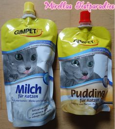 Tasty cat milk and pudding.