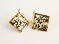 Recycled tin earrings with flowers and leaves  by elisaboutique