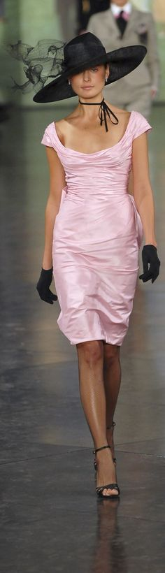 RL Pink Dress with Black Hat + Gloves + Heels already...bag to follow! :-)