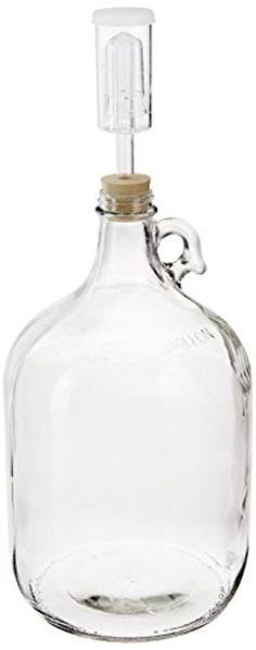 1 Gallon Fermentation Glass Jug Wine Beer w/ #6 Drilled Rubber Stopper Airlock   #HomeBrewOhio