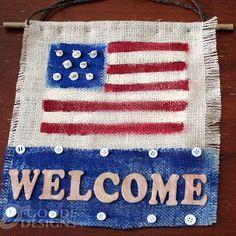DIY Burlap Crafts : DIY Button and Burlap Patriotic Welcome Decor