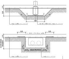 Plano de ingeniería de las vigas de encadenado y el canal sanitario de una platea de hormigón               armado de Steel Frame French Architecture, Architecture Details, Steel Framing, Industrial Sheds, Electrical Cad, 100 M2, Cad Blocks, Landscape Drawings, Civil Engineering