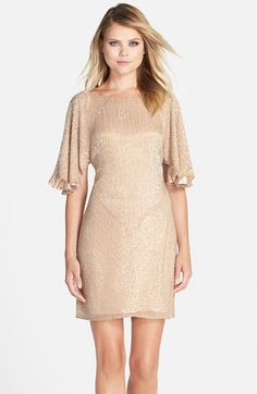 Womens Parker Black Fiona Flutter Sleeve Beaded Dress Size 6 - Pink $396.00 AT vintagedancer.com