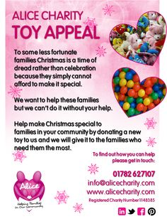 Toy appeal Family Christmas, Charity, Alice, Toys, How To Make, Activity Toys, Toy