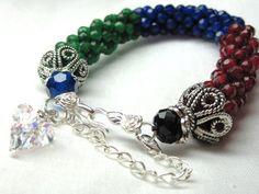 Ruby Bracelet Sapphire Bracelet Emerald by LablunsStitchArt, $65.00