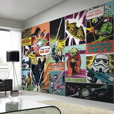 Buy Star Wars Retro Comic Pop Art Wall Mural from Zavvi, the home of pop culture. Childrens Wall Murals, Kids Wall Murals, Childrens Room Decor, Decoration Star Wars, Star Wars Zimmer, Deco Gamer, Star Wars Painting, Star Wars Bedroom, Boy Rooms