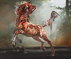 Holy shit id rather die then see this co. Holy shit id rather die then see this coming at me by SinCommonStitches on DeviantArt Horse Art, Horror Art, Animal Art, Character Art, Fantasy Art, Creature Art, Fantasy Creatures, Art, Dark Fantasy Art