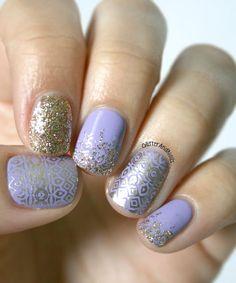 purple and gold glitter nail art. #summer #winter