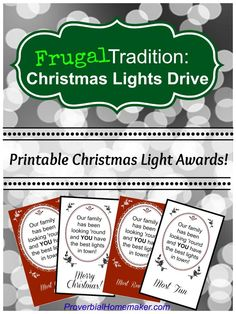 Frugal Tradition: Christmas Lights Drive (Free Printable Awards!) by ProverbialHomemaker.com
