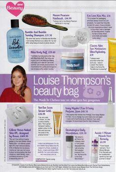 Now! magazine found bliss vanilla and bergamot body buff in Louise Thompson's make up bag!!