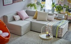 Ikea modular sofa, colours include plain pink, beige or pink diamond, and unify stylishly together. Ikea Portugal, Banquette, Module, Modular Sofa, Outdoor Furniture, Outdoor Decor, Decoration, Colours, Couch