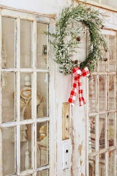 Nordic Farmhouse Christmas-Junk Chic Cottage-How I Found My Style Sundays Christmas Edition- From My Front Porch To Yours ❣️doors for my craft room ❣️ Cottage Christmas, Christmas Town, Noel Christmas, Country Christmas, Simple Christmas, All Things Christmas, Winter Christmas, Christmas Ribbon, Winter Holidays
