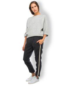 2nd One Hose Plüsch Dunkelgrau  - winterliche Hose von 2nd One in Plüsch-Optik in Dunkelgrau - elastischer Gummibund - Bundfalten - lässig, eleganter Schnitt - seitlicher Schwarz-Weißer-Streifen - seitliche Einschubtaschen - eine paspelierte Gesäßtasche