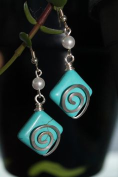 turquoise earrings with silver wire