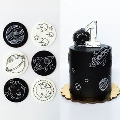 monochrome space themed fondant cupcake toppers and smash cake Birthday Cupcakes, Baby Birthday, Birthday Party Themes, Birthday Ideas, Fondant Cupcake Toppers, Cupcake Cakes, Astronaut Party, Outer Space Party, Birthday Cake Decorating