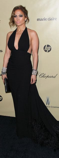 Who made  Jennifer Lopez's black halter gown that she wore in Beverly Hills on January 13, 2013?
