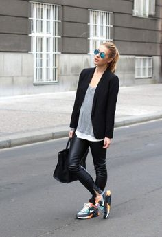 sporty shoes with casual chic outfit