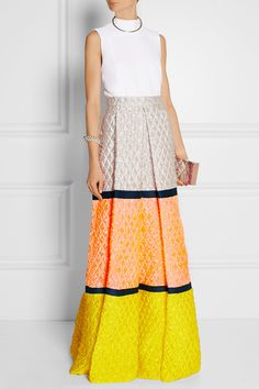 Roksanda|Color-block matelassé maxi skirt|NET-A-PORTER.COM