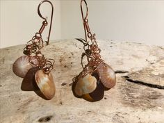 WE09 $25 Mossy ark, limpet, and brown sea glass with light copper wire, metal balls, crystals with copper ear wire.