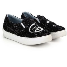 Chiara Ferragni Winking Paillettes Skate Sneakers (1,570 ILS) ❤ liked on Polyvore featuring shoes, sneakers, apparel & accessories, chiara ferragni, sequined sneakers, metallic slip-on sneakers, rubber sole shoes and round toe shoes