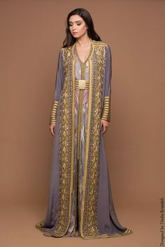 Fleurs de Lys - - Designed by Nadia Boutaleb Modest Fashion, Hijab Fashion, Fashion Beauty, Traditional Fashion, Traditional Dresses, Arabic Dress, Hippy Chic, Moroccan Caftan, Caftan Dress