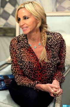 Camille Grammers in a Equipment Red Leopard Blouse and Van Cleef & Arpels Vintage Alhambra Necklace