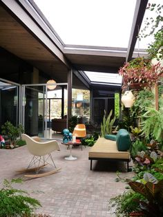 A private oasis with the an partially open courtyard of an Eichler Home.