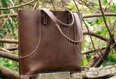 Handmade vintage rustic leather normal size tote bag shoulder bag hand | EverHandmade