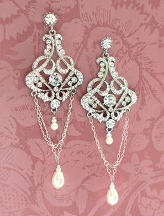1920s+Bridal+Earrings+Vintage+Bridal+Earrings+by+LottieDaDesigns,+$58.00