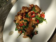 Spicy chicken stired with thai basil ,tree basil and hot chili.