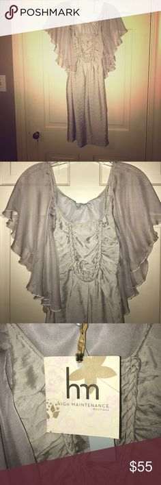 elegant angelic gray dress Very unique dress. Sleeves are like angelic wings of sheer material. Whish is the brand. High maintenance boutique is the distributor bought new never worn out. Pale gray whish Dresses Midi