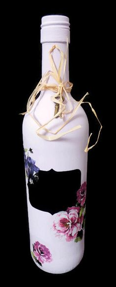 Floral Decorated Bottle, Decoupage Bottle, Lilac Candlestick Holder, Lovely Rustic Home ware, Unique Accessories for the Home, Wedding Decor