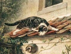 Cat by Henriëtte Ronner-Knip (31 May 1821, Amsterdam - 2 March 1909, Elsene)