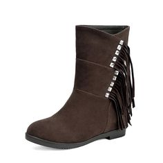WeiPoot Women's Mid Top Fringed Pull On Round Closed Toe Kitten Heels Boots >>> This is an Amazon Affiliate link. Find out more about the great product at the image link.