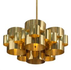 Curtis Jere; Polished Brass and Steel 'Cloud' Ceiling Light by Curtis Jere, c1970.