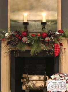 Touches of plaid make a traditional yet fun holiday mantel.