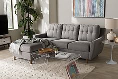 Baxton Studio Mckenzie Fabric Upholstered Sectional Sofa in Gray