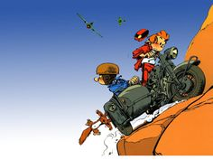 #Spirou (Walloon: Squirrel, mischievous) is the main character of the Spirou et Fantasio and Le Petit Spirou comic strips. The character was originally created by Robert Velter (Rob-Vel) for the launch of Le Journal de Spirou in 1938. Spirou was originally an elevator operator and bell-boy at the fictional Moustique Hotel. At some point he became a reporter for the eponymous magazine, though he remained dressed in his trademark red uniform.