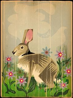 Vintage Hare Art, this would be great embroidered,