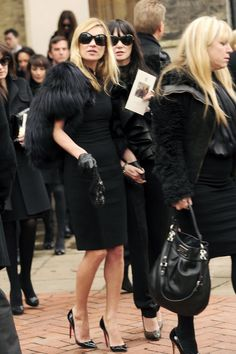 "Kate Moss Pumps  While attending the funeral of famous designer Alexander McQueen, Kate Moss wore a sky high pair of patent leather ""Pigalle"" pumps that were fitting for the tragic occasion.   Brand: Christian Louboutin"