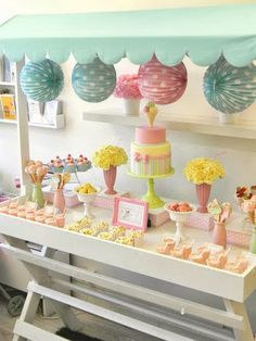 Ice Cream Social Party- The gorgeous pastel colored set ups-cute idea for a summer baby shower or birthday 11th Birthday, Birthday Parties, Birthday Ideas, Teen Parties, Birthday Games, Pastell Party, Bakery Display, Ice Cream Social, Ice Cream Party