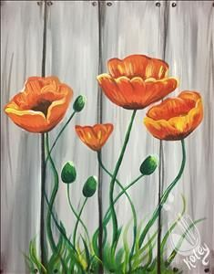 Orange Poppies - Sunday, October 2017 - Painting with a Twist Garden Fence Art, Garden Mural, Arte Pallet, Pallet Art, Flower Mural, Flower Art, Yard Art, Paint Party, Diy Painting