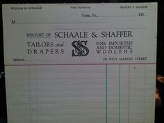Tailor shop receipt book from 1920's