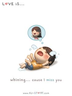 Hj-Story :: love is whining cause i miss you! Cute Love Stories, Cute Love Quotes, Love Story, Hj Story, Cute Couple Cartoon, Cute Cartoon, Chibi Couple, Ah O Amor, Miss You Too