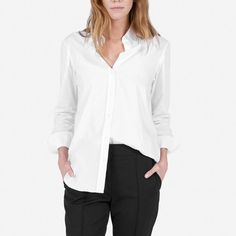 10 Best White Button Down Shirts - Everlane The Relaxed Cotton Shirt White Button Down Shirt, Button Downs, Button Up Shirts, Grandad Shirts, Baggy Clothes, Capsule Wardrobe, Travel Wardrobe, Guess Jeans, Memes