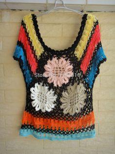 Negro puro encaje Blusas Femininas verano Floral Crochet Top horquilla Crochet patrón