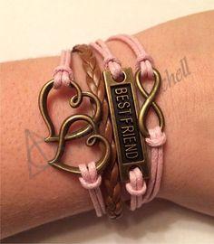 Amazing Best Friend Charm Bracelets for Cheap! Pink, Infinity, Hearts, Best Friend, Charm, Bracelet! Etsy.com