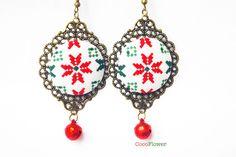 Boucles d'oreilles de noël flocon de neige tenue de réveillon bijou de fête : Boucles d'oreille par cocoflower